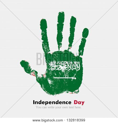 Hand print, which bears the Flag of Saudi Arabia. Independence Day. Grunge style. Grungy hand print with the flag. Hand print and five fingers. Used as an icon, card, greeting, printed materials.