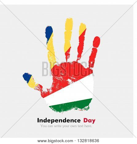 Hand print, which bears the Flag of Seychelles. Independence Day. Grunge style. Grungy hand print with the flag. Hand print and five fingers. Used as an icon, card, greeting, printed materials.