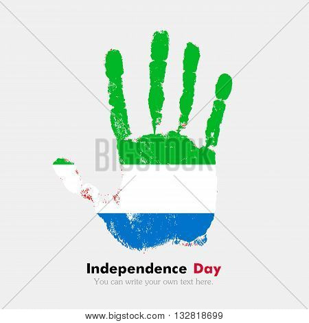 Hand print, which bears the Flag of Sierra Leone. Independence Day. Grunge style. Grungy hand print with the flag. Hand print and five fingers. Used as an icon, card, greeting, printed materials.