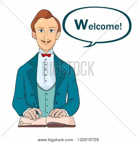 male receptionist standing at hotel reception and say welcome vector