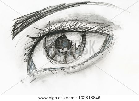 child's drawing - black and white picture of human eye close up hand drawing by pencil