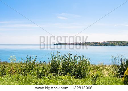 Green Coast And View Of Tsarevo Town In Bulgaria