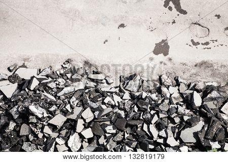 Top View Pile Of Asphalt Blocks On Side Of Road