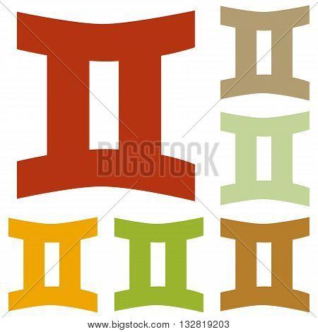 Gemini sign illustration. Colorful autumn set of icons.