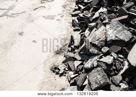 Heap Of Old Asphalt Pieces On Roadside
