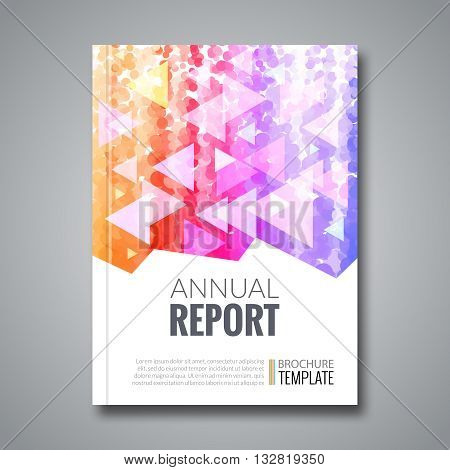 Cover report colorful triangle geometric pattern design background, cover magazine, brochure book cover template, vector illustration.
