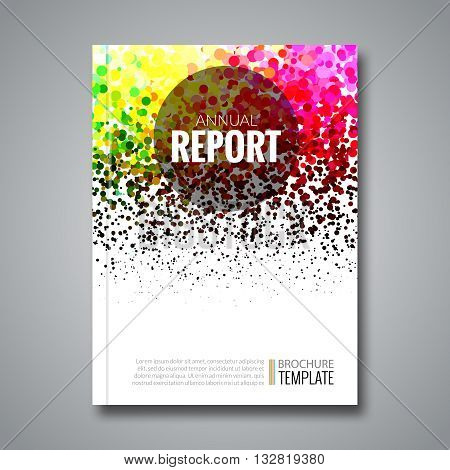 Business report design background with colorful dots, simulating watercolor. Dotwork Brochure Cover Magazine template, vector illustration.