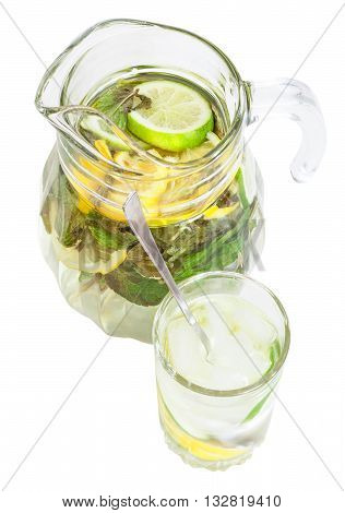 Above View Of Pitcher And Tumbler With Lemonade