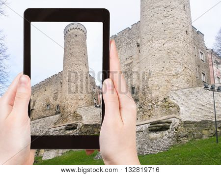 Tourist Photographs Toompea Castle In Tallinn City