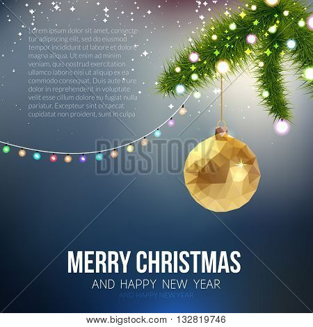 Merry Christmas Happy New Year trendy triangular gold xmas ball shape in hipster origami style. Ideal for xmas card or elegant holiday party invitation.