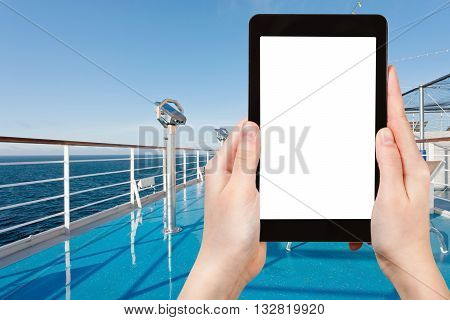 Tourist Photographs Sea From Desk Of Cruise Liner
