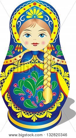 Russian nesting doll. Vector illustration on a transparent background