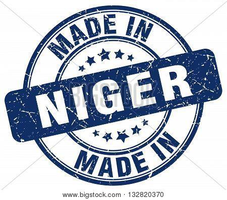 made in Niger blue round vintage stamp.Niger stamp.Niger seal.Niger tag.Niger.Niger sign.Niger.Niger label.stamp.made.in.made in.