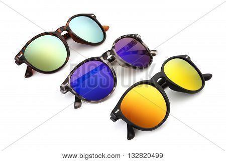 set sun glasses isolated on white background