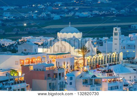 View of the town Fira in the night light. Santorini.