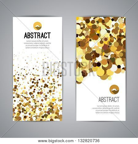 Gold sparkles on white backround, Golden banners. Gold text. Gift, luxury card privilege shopping, sale.