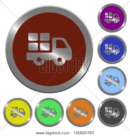 Set of color glossy coin-like transport buttons.