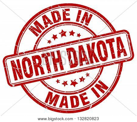 made in North Dakota red round vintage stamp.North Dakota stamp.North Dakota seal.North Dakota tag.North Dakota.North Dakota sign.North.Dakota.North Dakota label.stamp.made.in.made in.