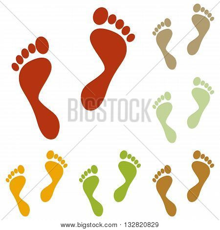Foot prints sign. Colorful autumn set of icons.