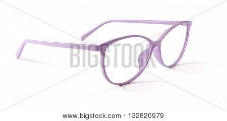pink spectacles eyeglasses isolated on white background