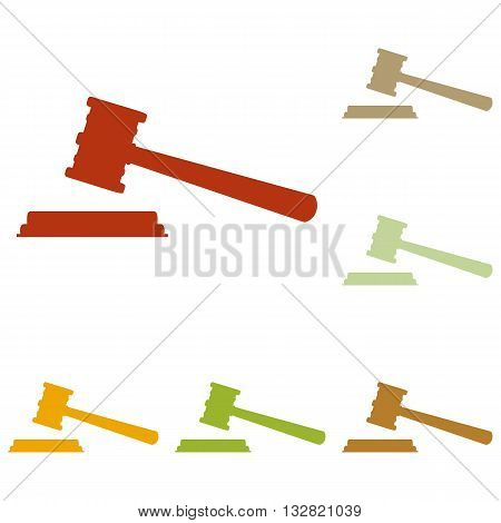 Justice hammer sign. Colorful autumn set of icons.