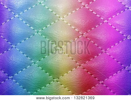 Quilted Texture Artificial Leather, Stitched With Thread For The Background F