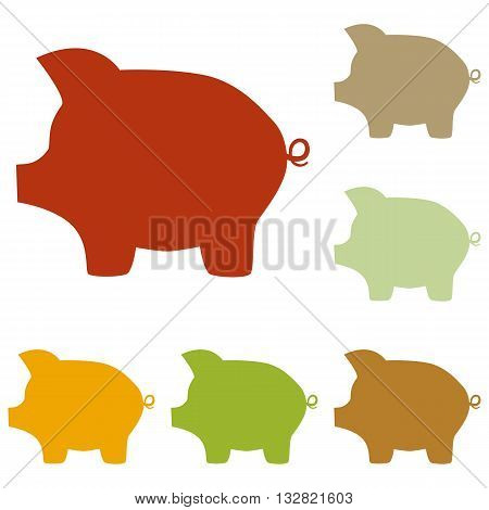 Pig money bank sign. Colorful autumn set of icons.