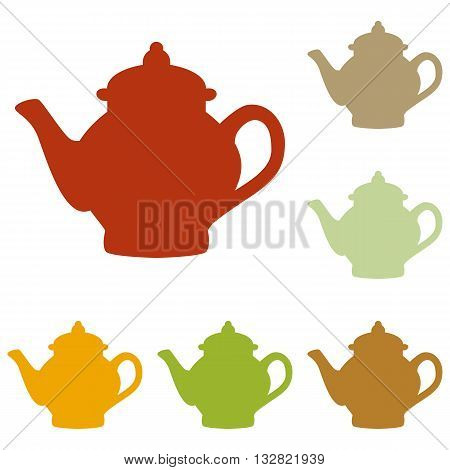Tea maker sign. Colorful autumn set of icons.