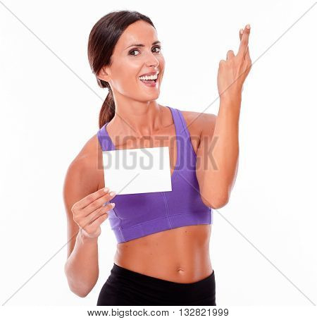 Healthy Smiling Brunette With Copy Space