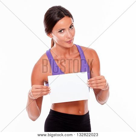 Healthy Pouting Brunette With Blank Signboard