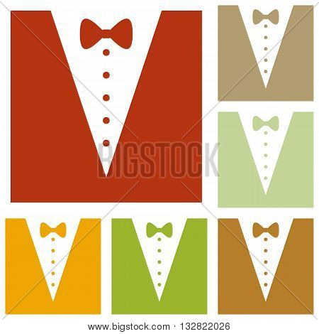 Tuxedo with bow silhouette. Colorful autumn set of icons.