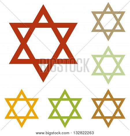 Shield Magen David Star. Symbol of Israel. Colorful autumn set of icons.