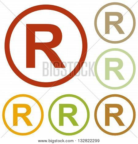 Registered Trademark sign. Colorful autumn set of icons.