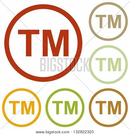 Trade mark sign. Colorful autumn set of icons.