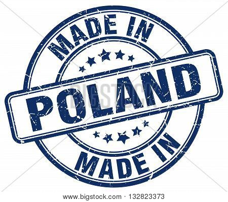 made in Poland blue round vintage stamp.Poland stamp.Poland seal.Poland tag.Poland.Poland sign.Poland.Poland label.stamp.made.in.made in.