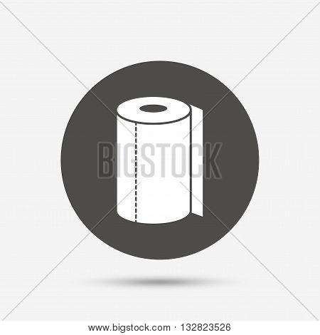 Paper towel sign icon. Kitchen roll symbol. Gray circle button with icon. Vector