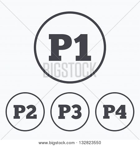 Car parking icons. First, second, third and four floor signs. P1, P2, P3 and P4 symbols. Icons in circles.