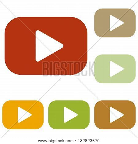 Play button sign. Colorful autumn set of icons.