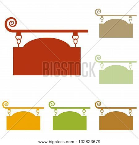 Wrought iron sign for old-fashioned design. Colorful autumn set of icons.