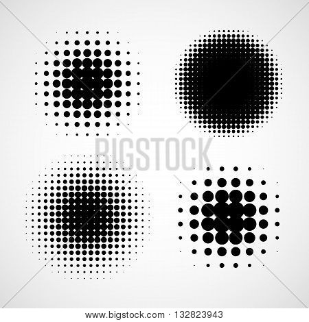 Simple Abstract Halftone Backgrounds. Vector Set of Isolated Halftone Modern Design Element. Black and white raster dots