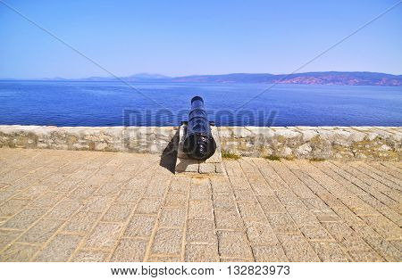 historical cannon of the fortification of Hydra island Saronic gulf Greece