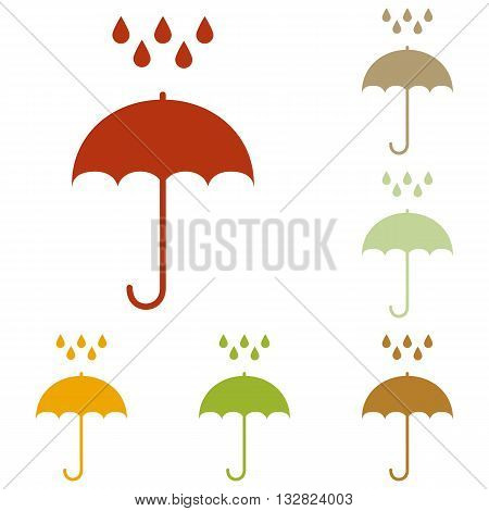Umbrella with water drops. Rain protection symbol. Flat design style. Colorful autumn set of icons.