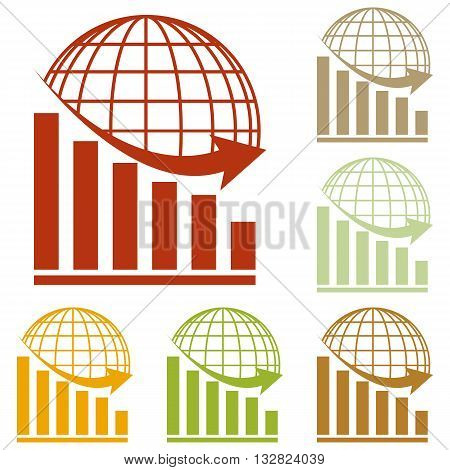 Declining graph with earth. Colorful autumn set of icons.