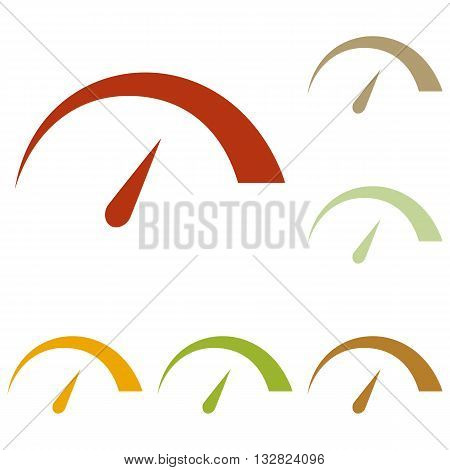 Speedometer sign illustration. Colorful autumn set of icons.