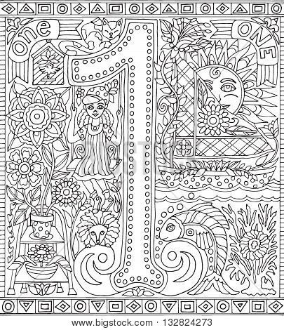 Adult Coloring Book Poster Number 1 One Black and White Vector Illustration Alphabet Letter Wall Art