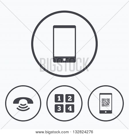 Phone icons. Smartphone with Qr code sign. Call center support symbol. Cellphone keyboard symbol. Icons in circles.