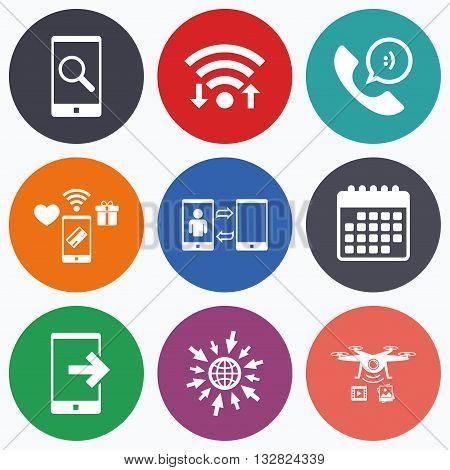 Wifi, mobile payments and drones icons. Phone icons. Smartphone with speech bubble sign. Call center support symbol. Synchronization symbol. Calendar symbol.