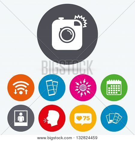 Wifi, like counter and calendar icons. Hipster photo camera icon. Flash light symbol. Photo booth strips sign. Human portrait photo frame. Human talk, go to web.