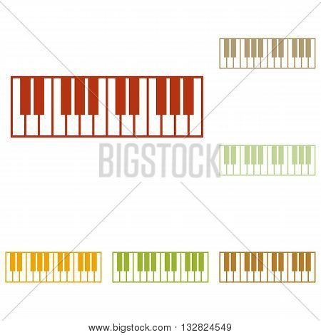Piano Keyboard sign. Colorful autumn set of icons.