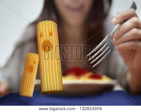 pasta running away from deadly fork 3D rendering